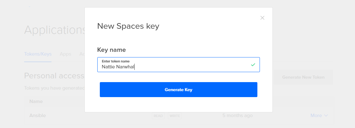 Screenshot of the Key name dialog