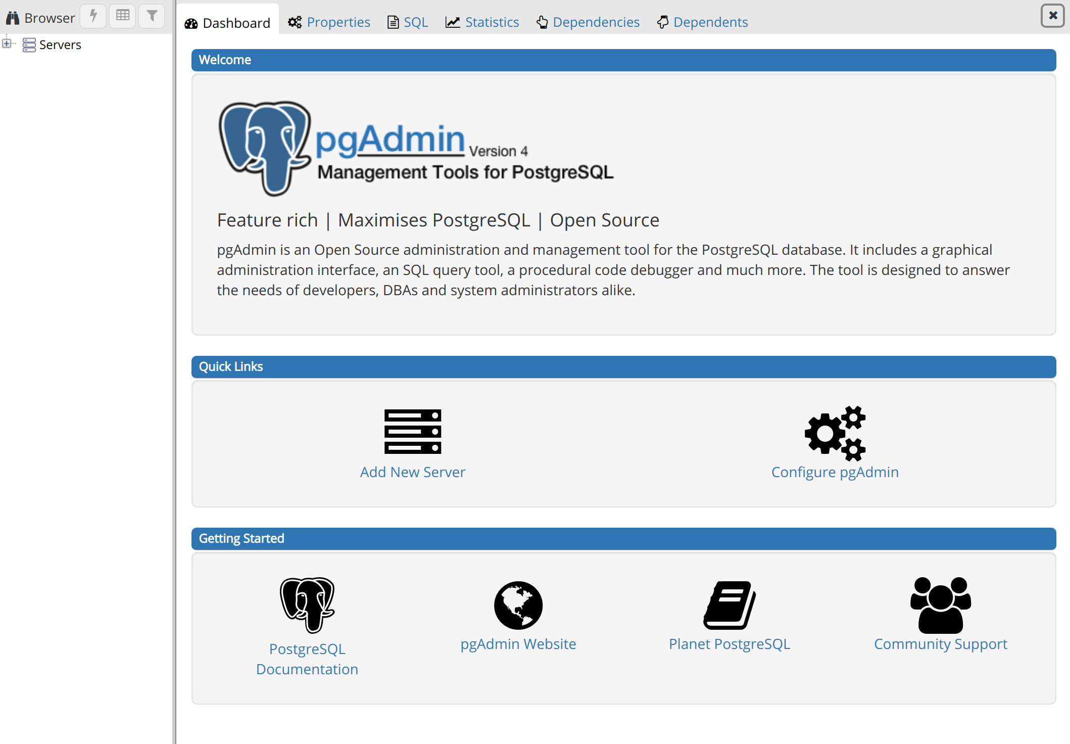 pgAdmin Welcome Page