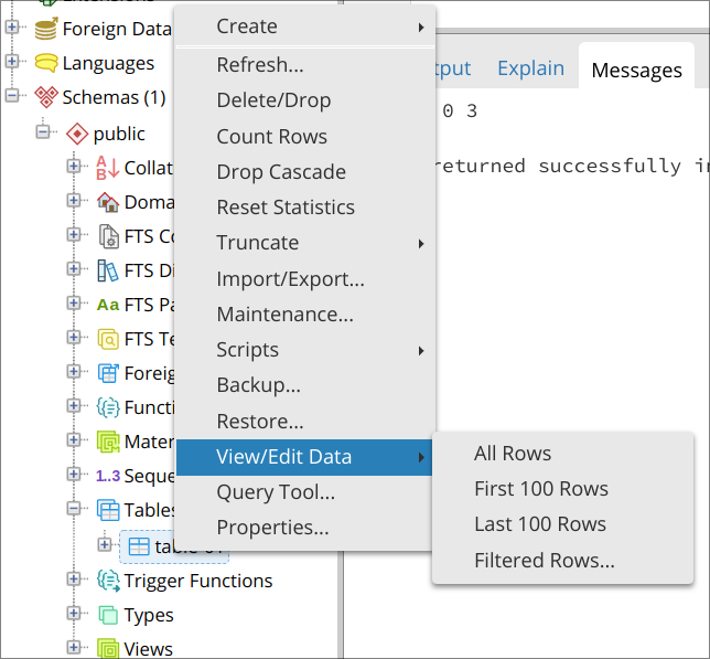 View/Edit Data, All Rows context menu