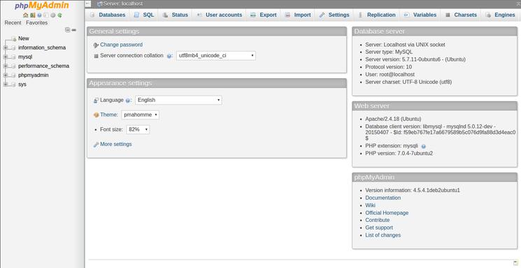 Интерфейс пользователя в phpMyAdmin