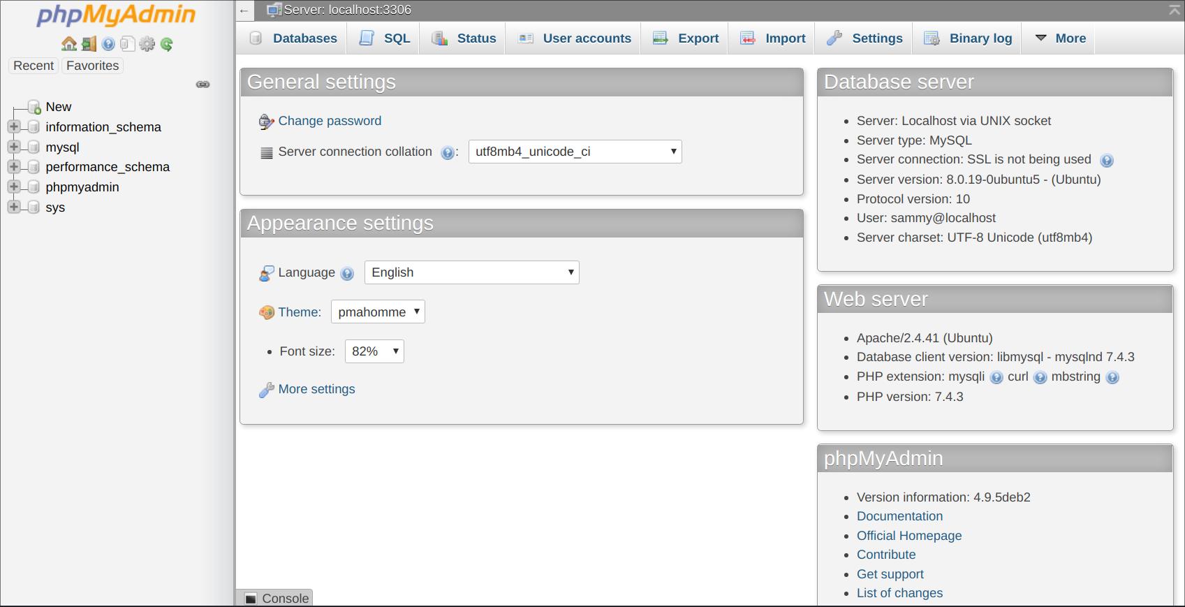 phpMyAdmin-Benutzeroberfläche