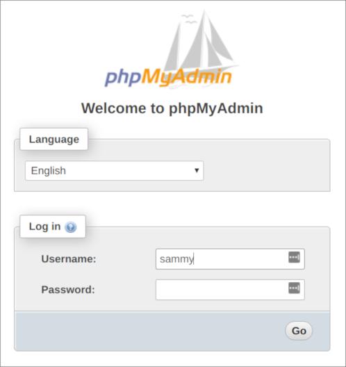 phpMyAdmin-Anmeldebildschirm