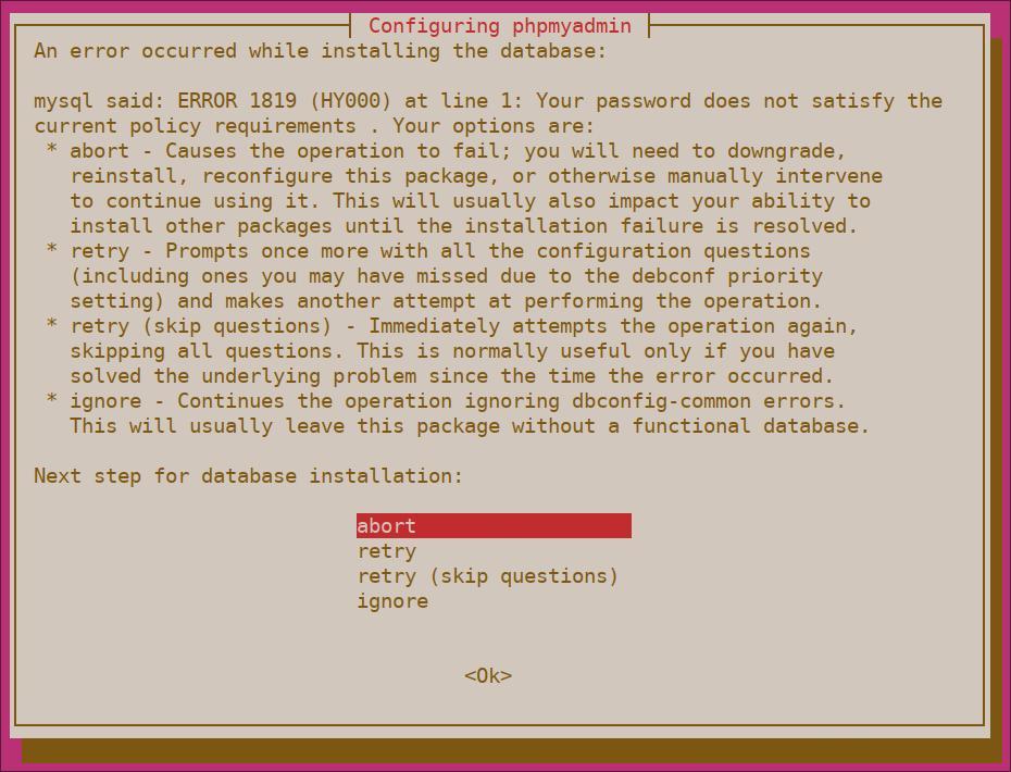 Fehler bei der Überprüfung des phpMyAdmin-Passworts
