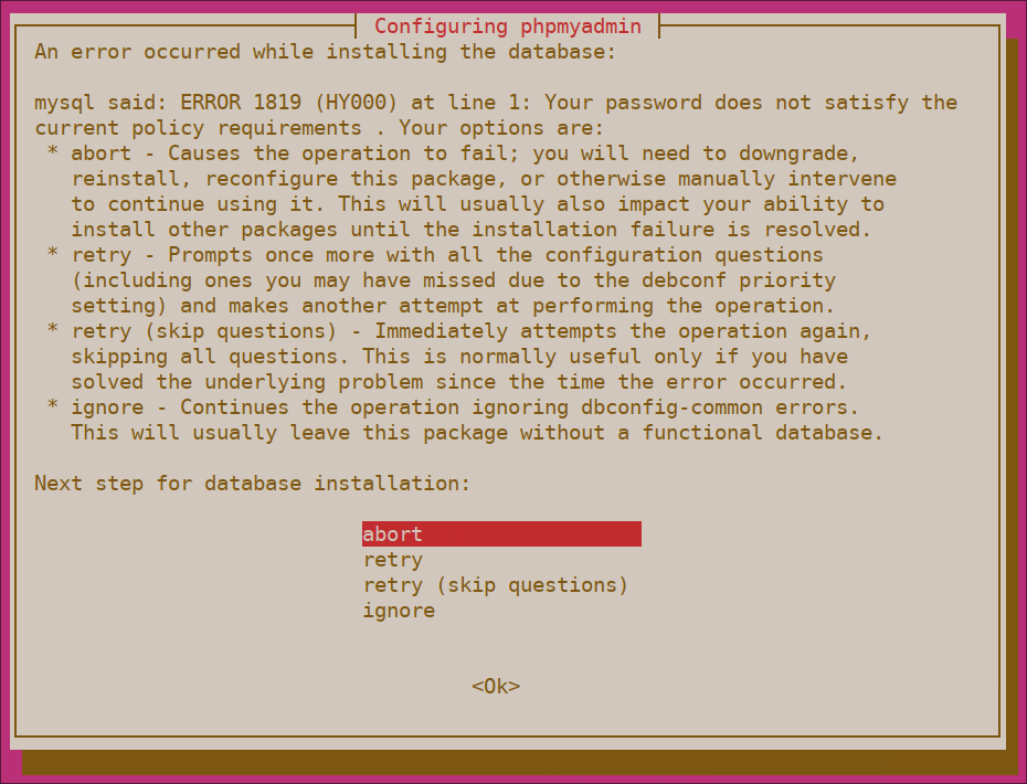 Kesalahan validasi kata sandi phpMyAdmin