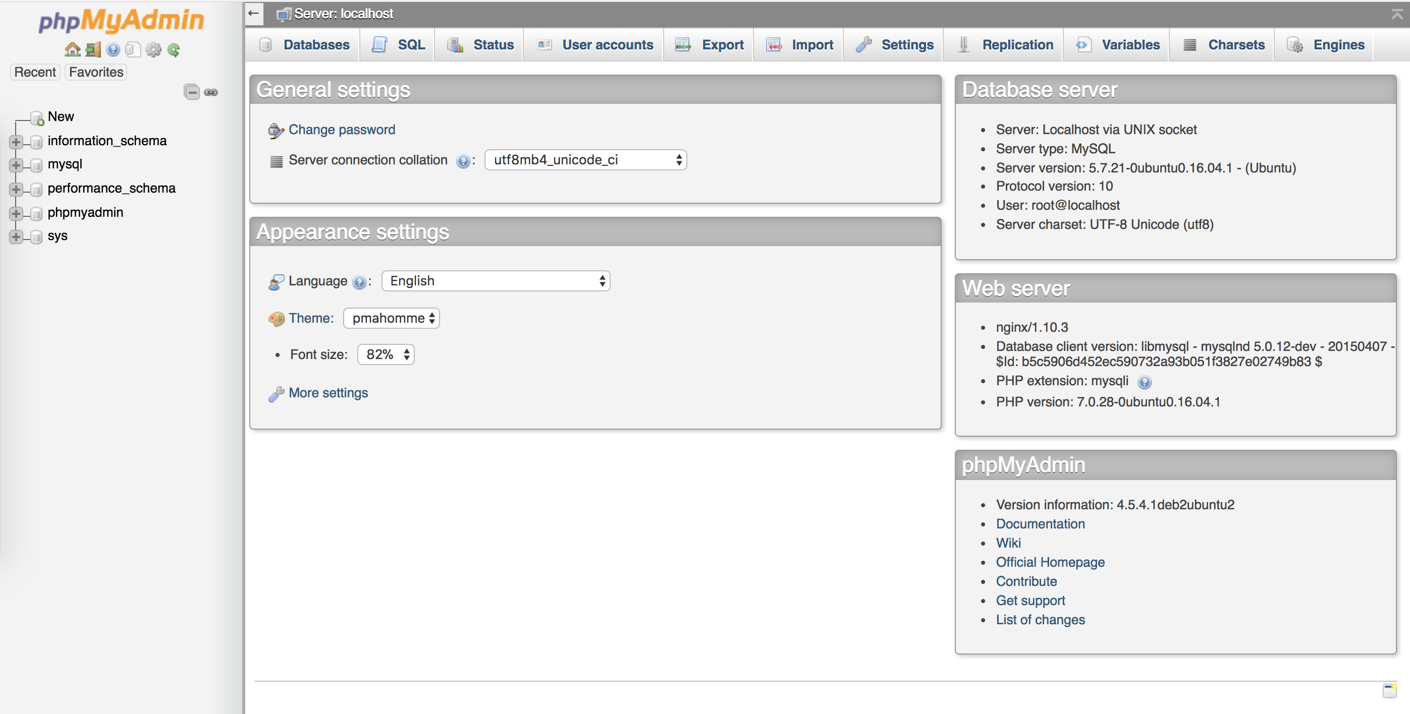 phpMyAdmin admin interface