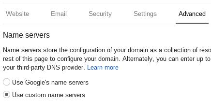 Use custom name servers