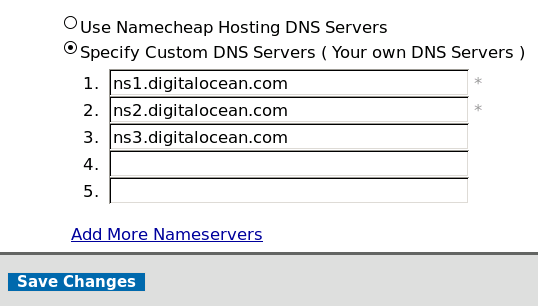 Enter DigitalOcean Nameservers