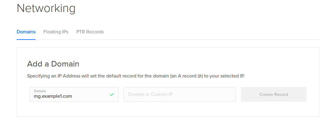 Adding SubDomain to DigitalOcean