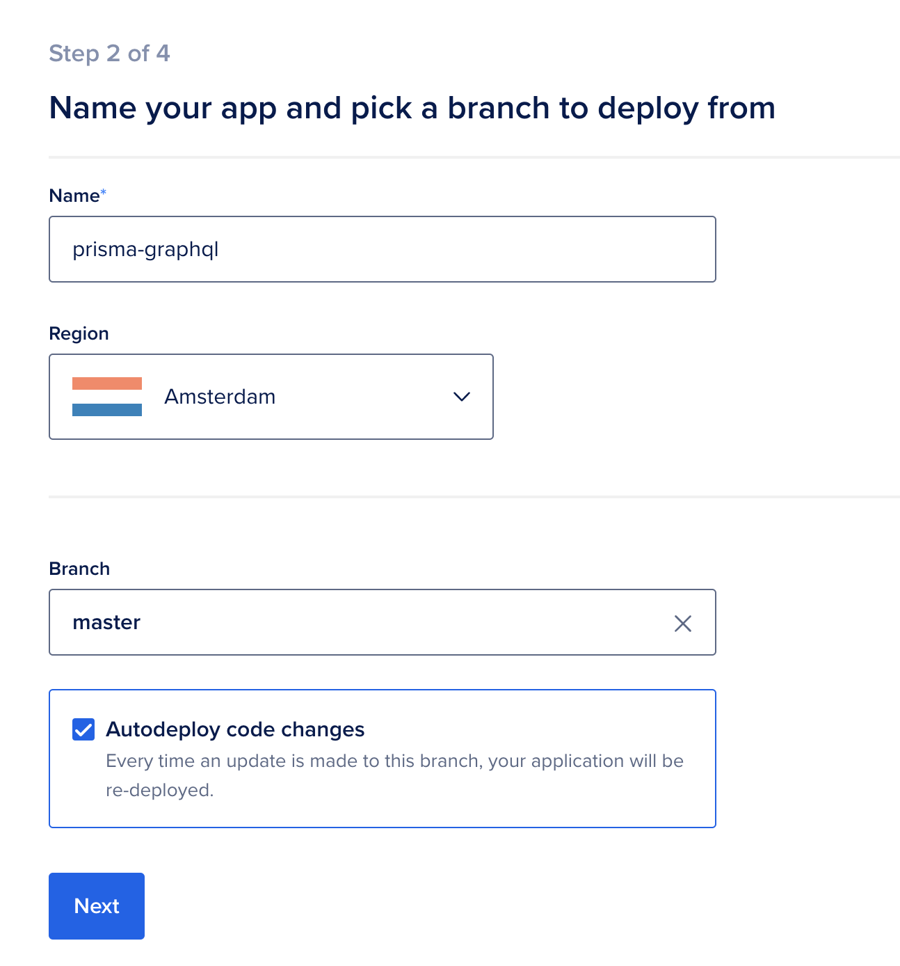 Name your app and pick a branch to deploy from