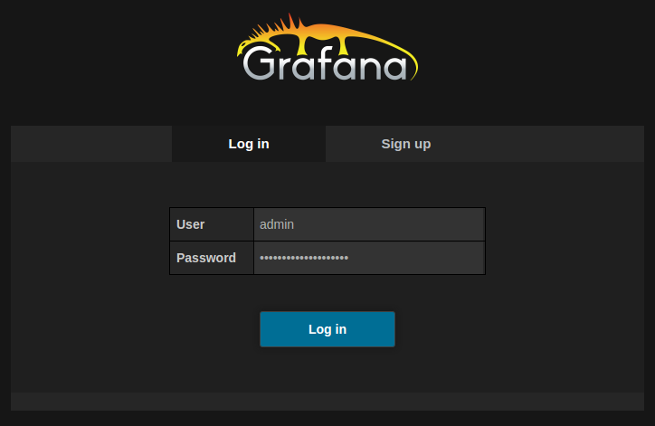 Log in to Grafana with your chosen password