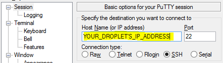 PuTTY droplet address