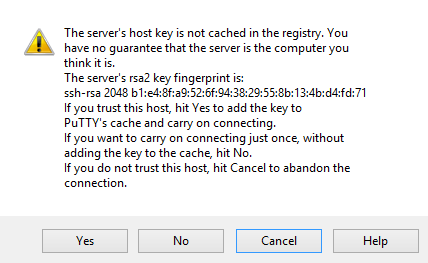 PuTTY verify host