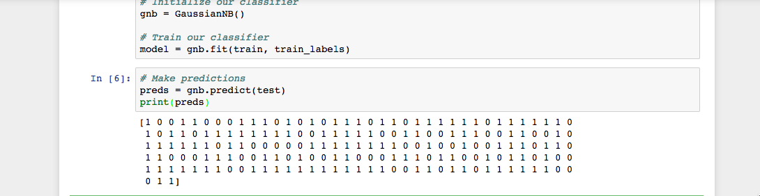 Jupyter Notebook with Python cell that prints the predicted values of the Naive Bayes classifier on our test data