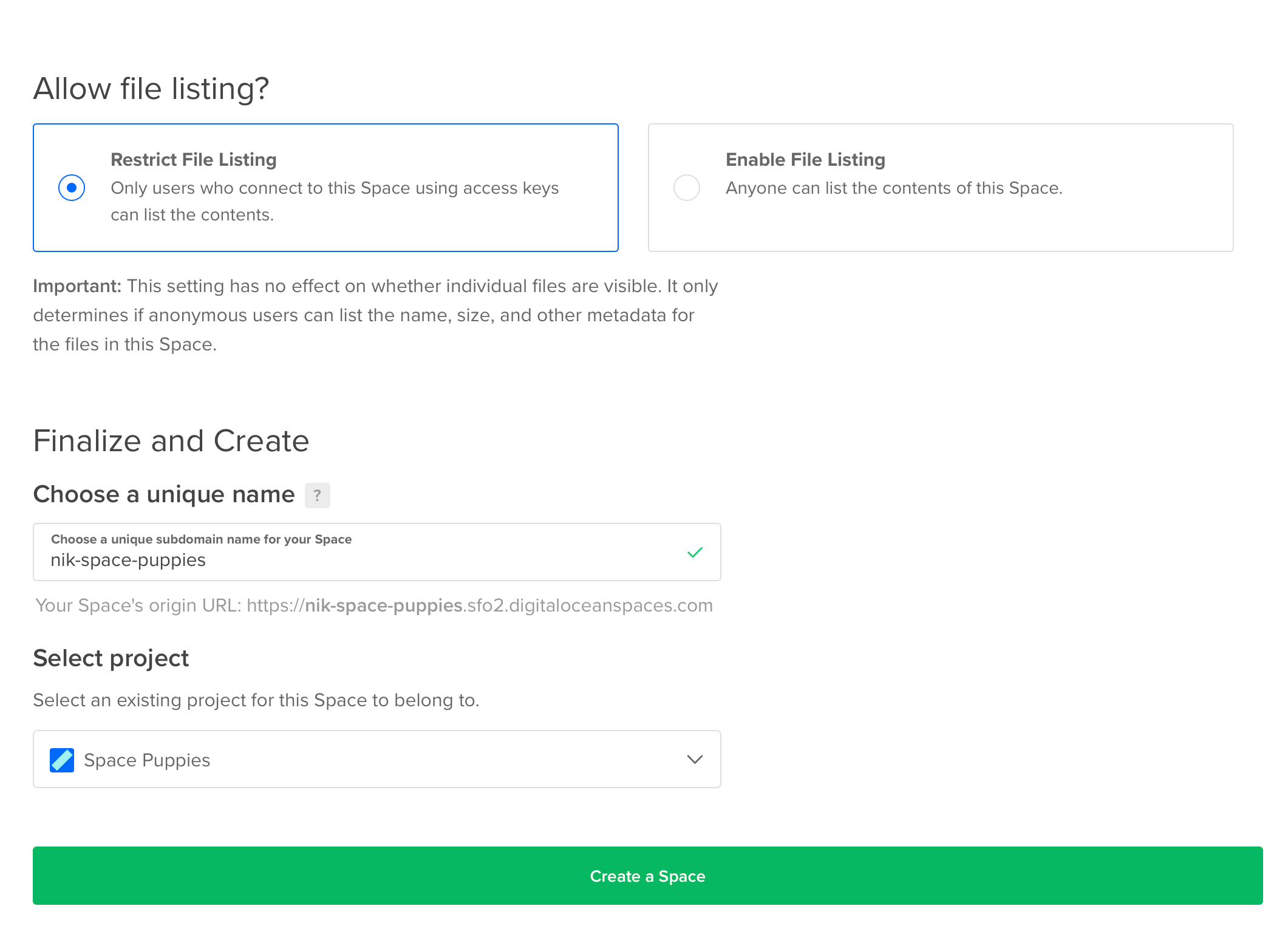 A screenshot of the DigitalOcean create space form with a name filled  in