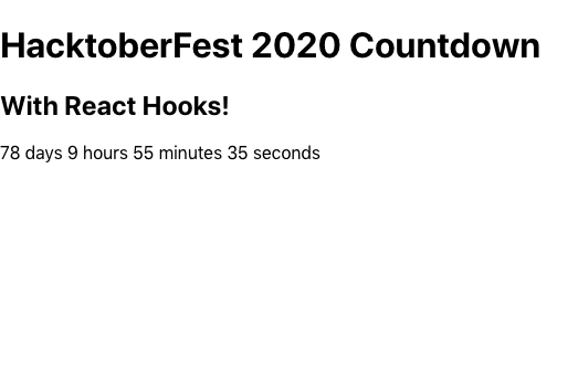 Completed timer counting down to HacktoberFest