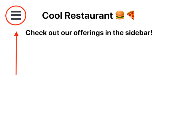 Screenshot of the Cool Restaurant webpage with annotations indicating the hamburger menu icon