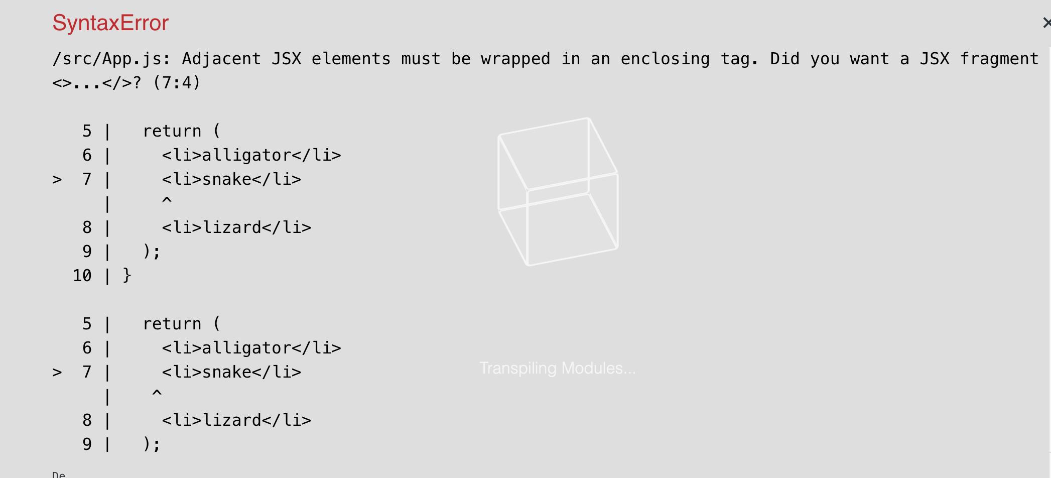 Hard error from React for Adjacent JSX elements