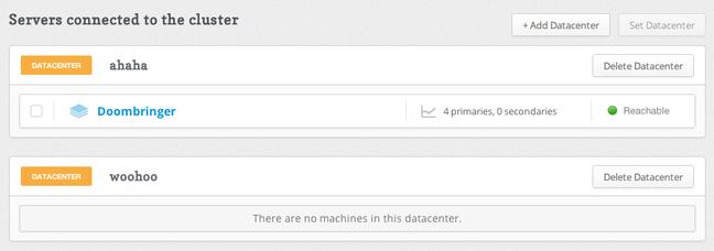 RethinkDB servers page