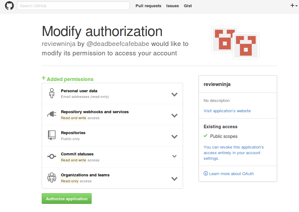 Authorizing private repositories
