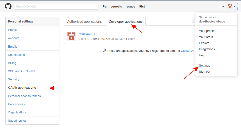 New GitHub OAuth application form