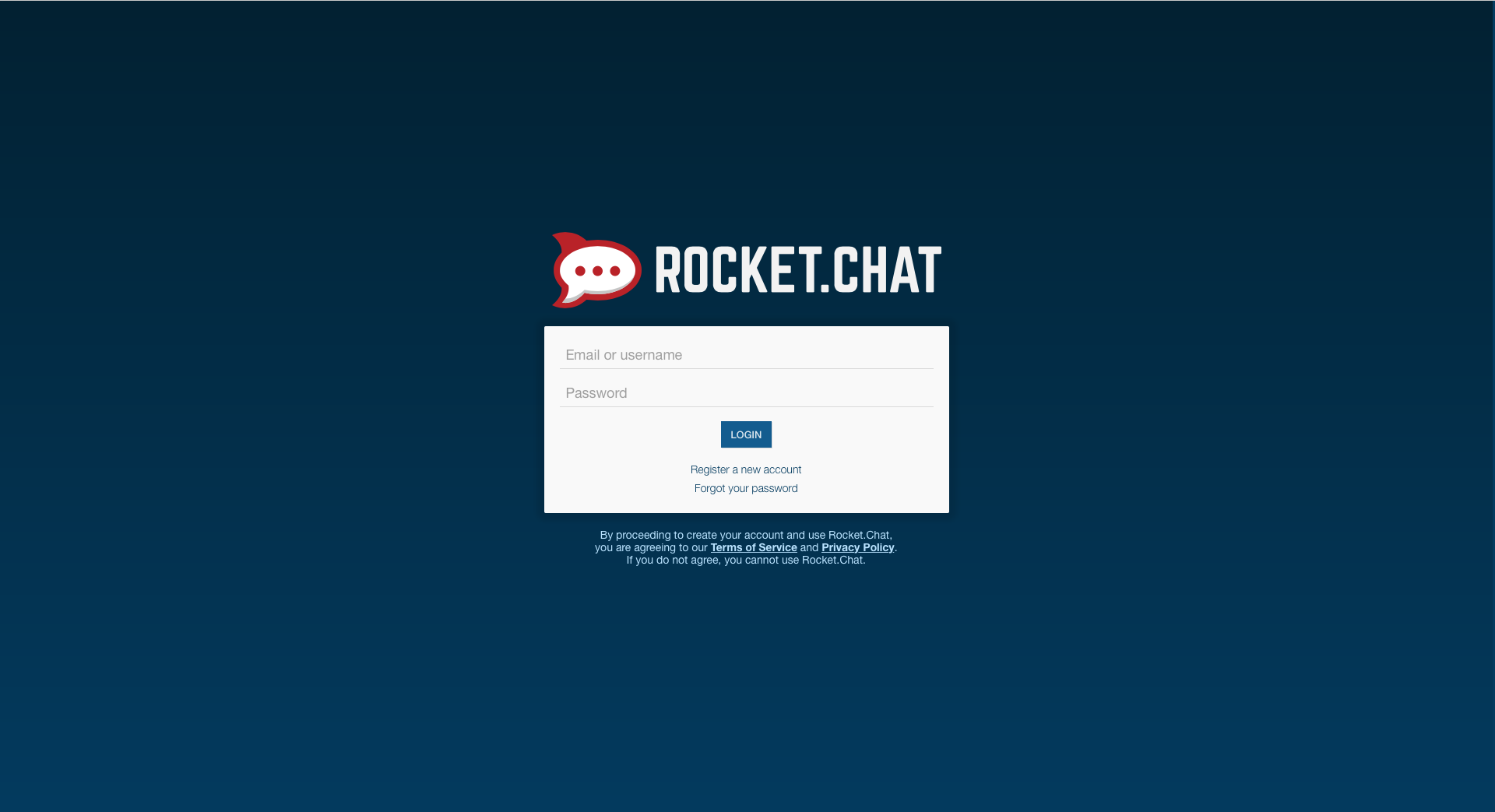 Rocket.Chat's login page