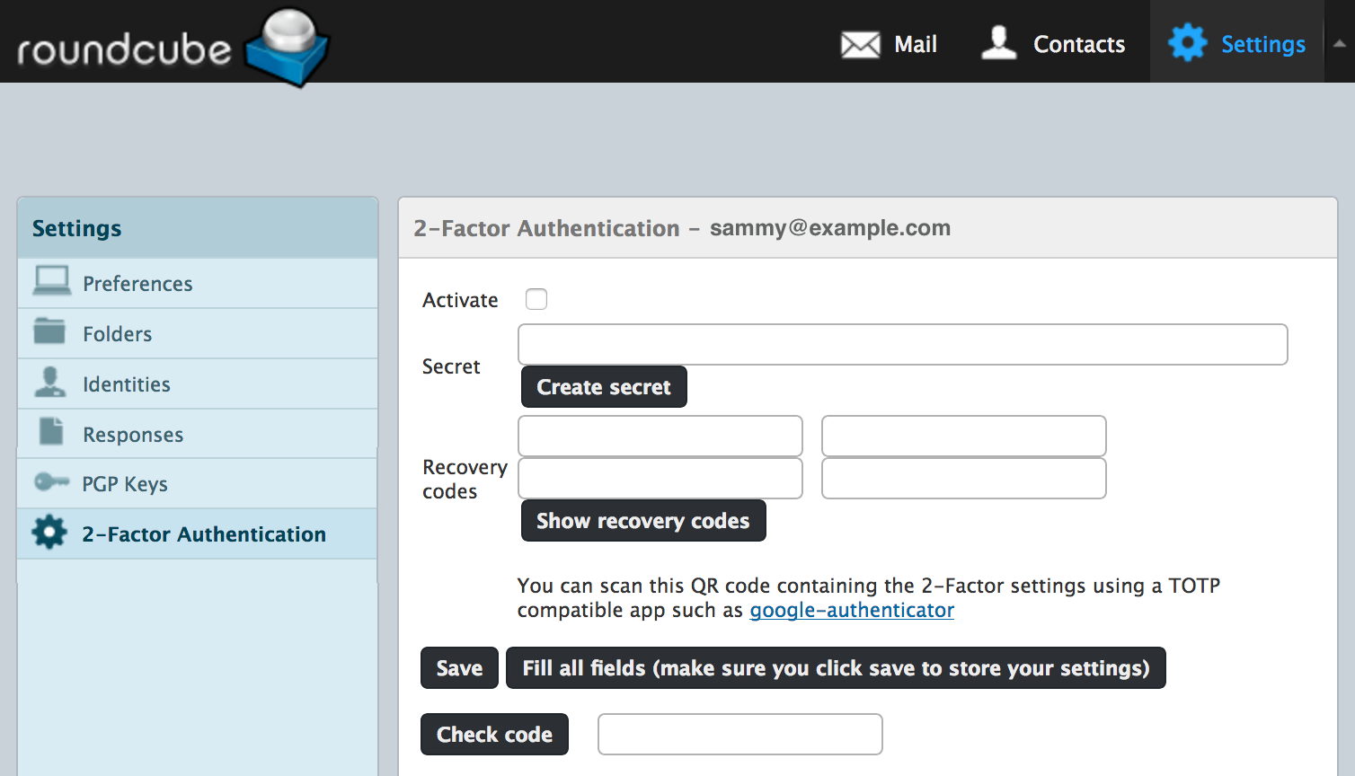Roundcube 2-Factor Authentication settings page