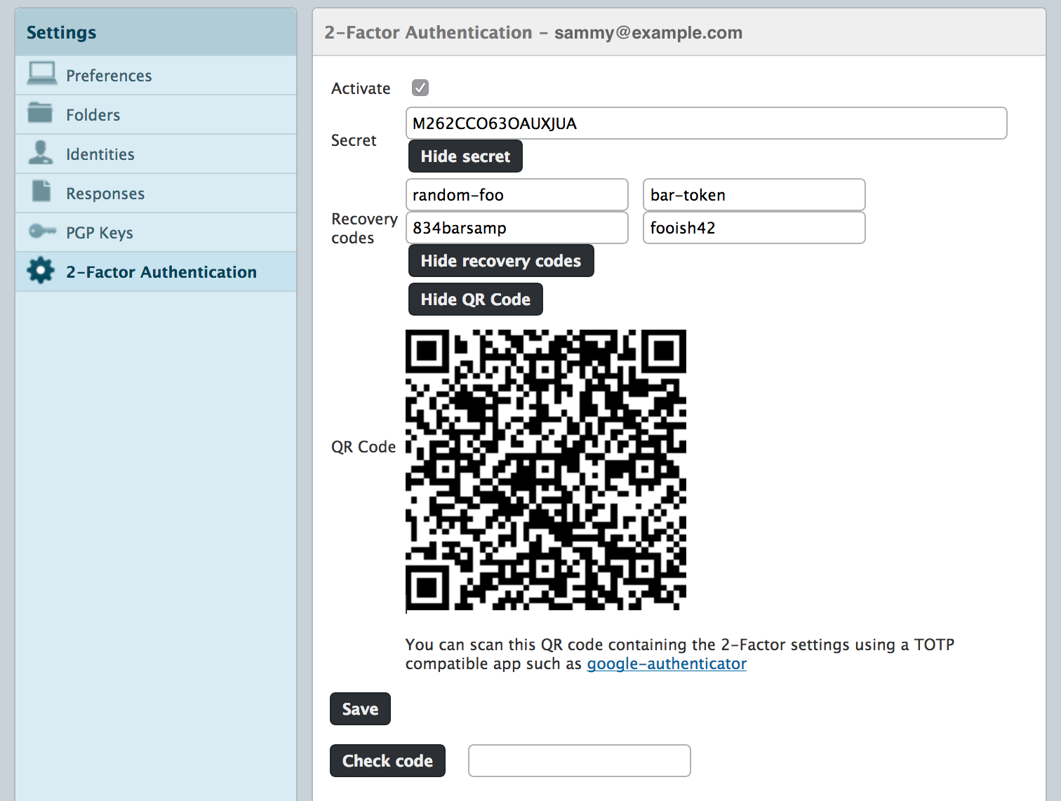 Roundcube 2-Factor Authentication QR code