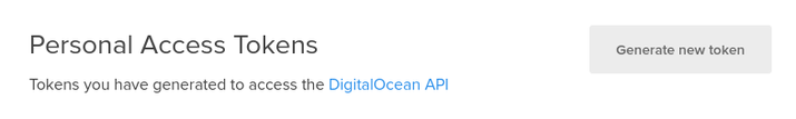 DigitalOcean create API token