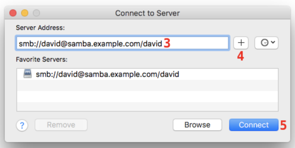 Image showing samba share connection details