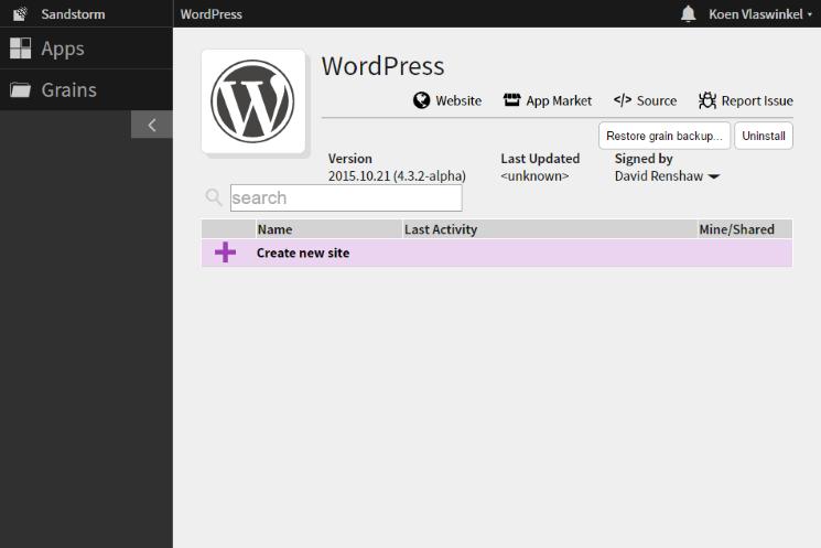 Sandstorm WordPress