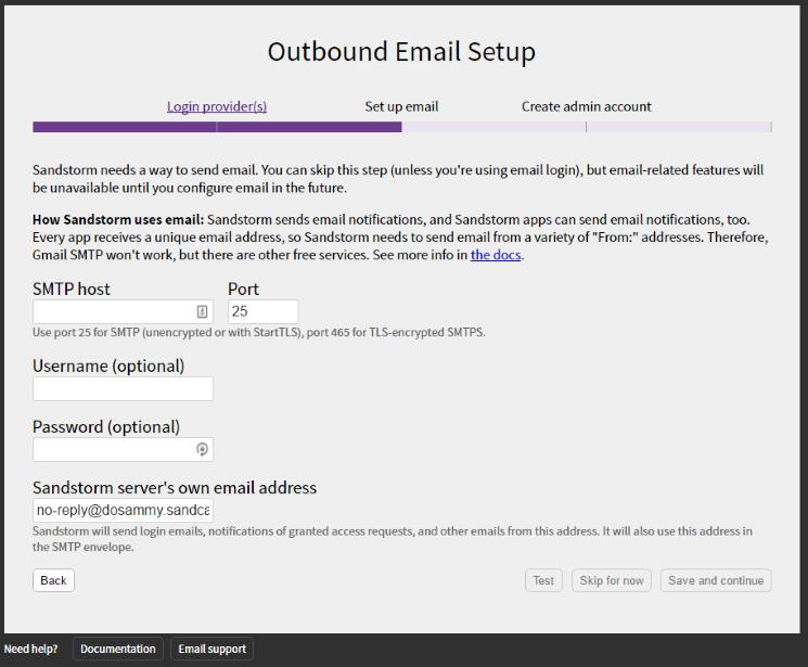 Sandstorm E-mail Setup