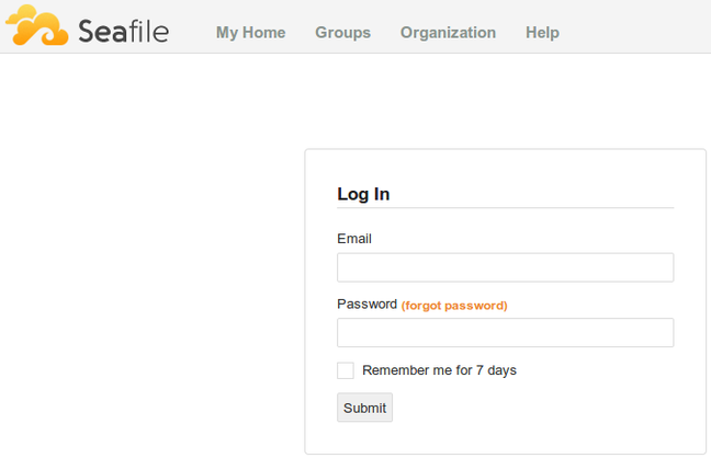 Seafile initial login page