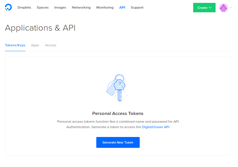 The DigitalOcean Applications & API page