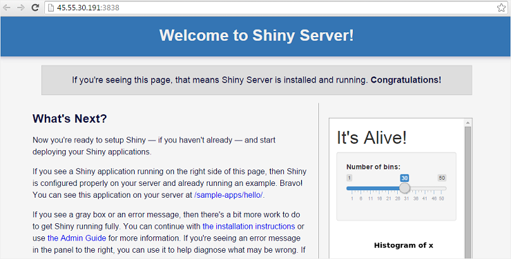 Shiny Server default welcome page