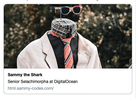 screenshot of the Twitter Card for Sammy's Site