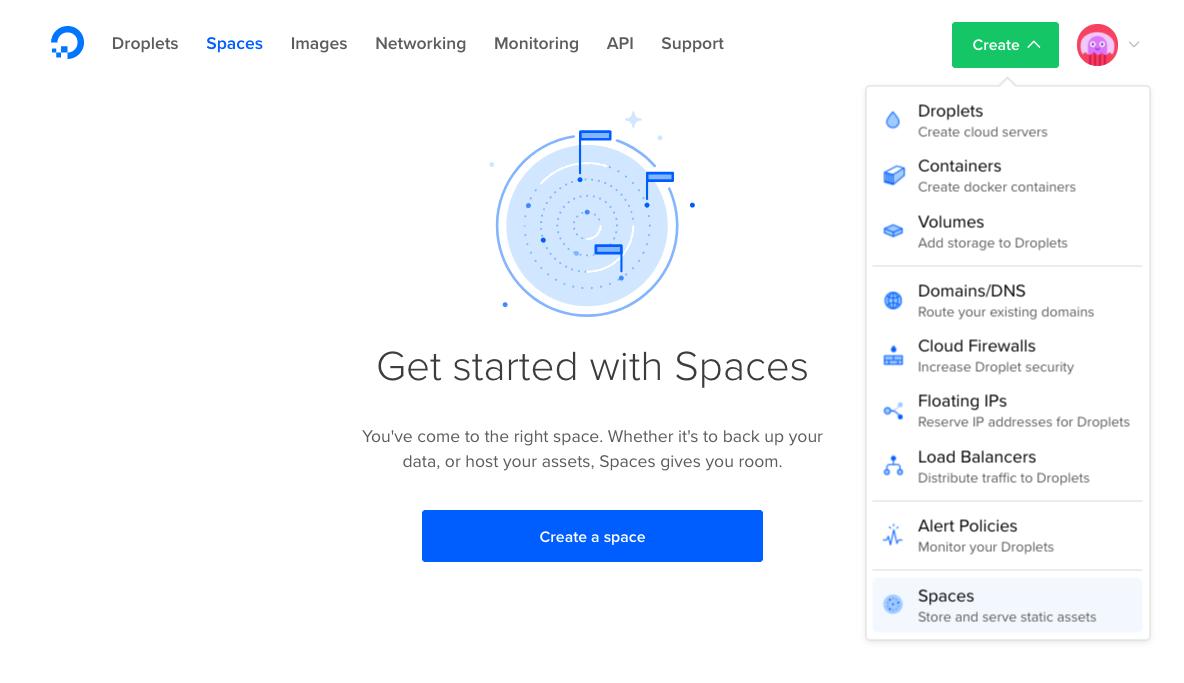 Default Spaces page w/ Create menu dropdown