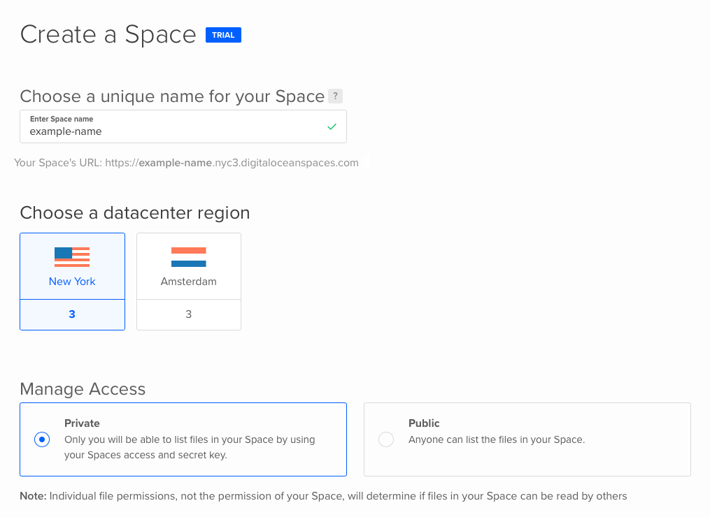 Interface for creating a new Space, with name, region, and privacy options