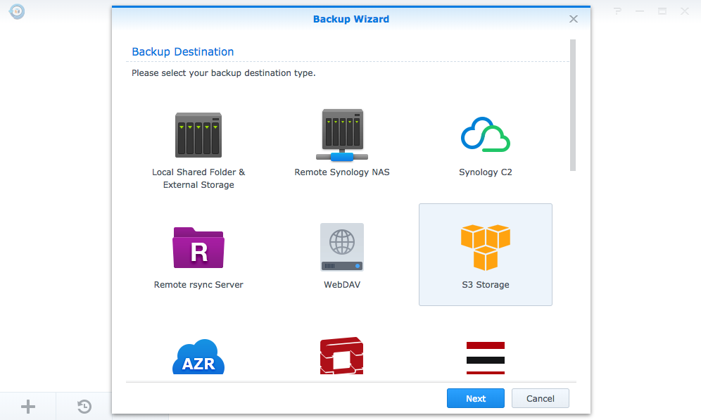 Hyper Backup's Backup Wizard opening screen listing backup destinations