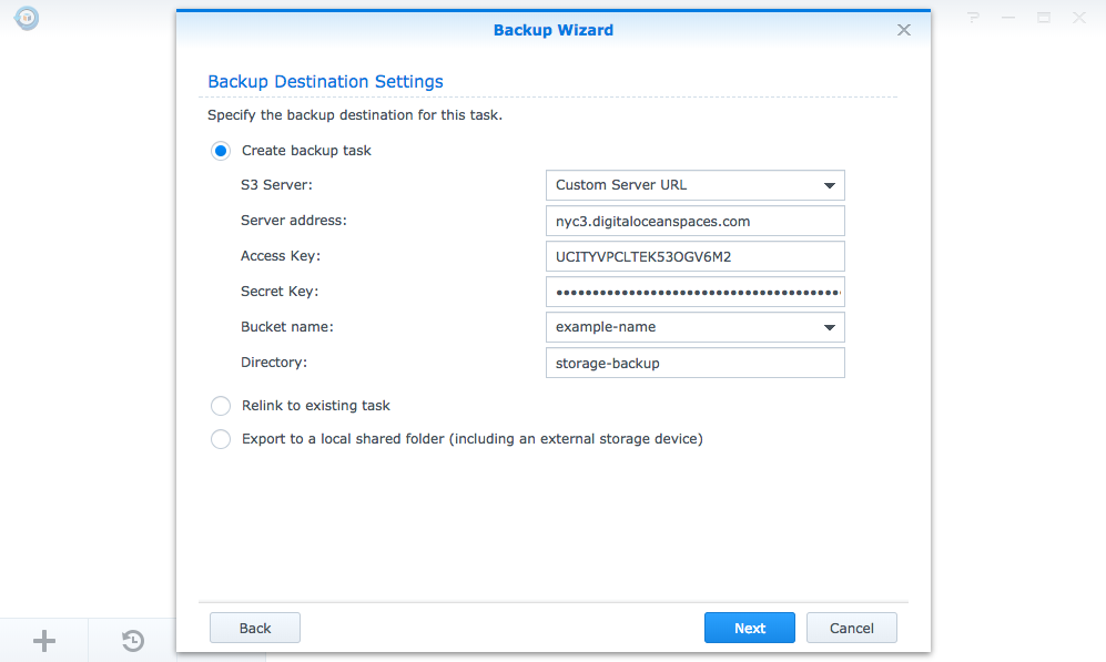 Hyper Backup's Backup Wizard interface for creating a new backup task