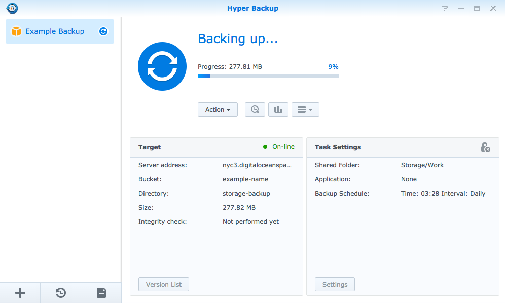 Synology's Hyper Backup software interface