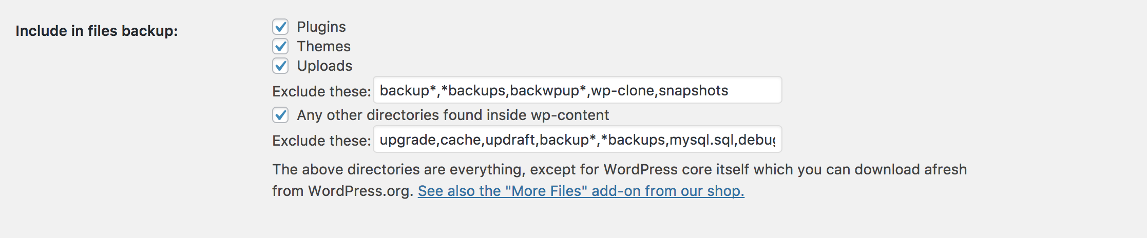 Include Exclude File Options