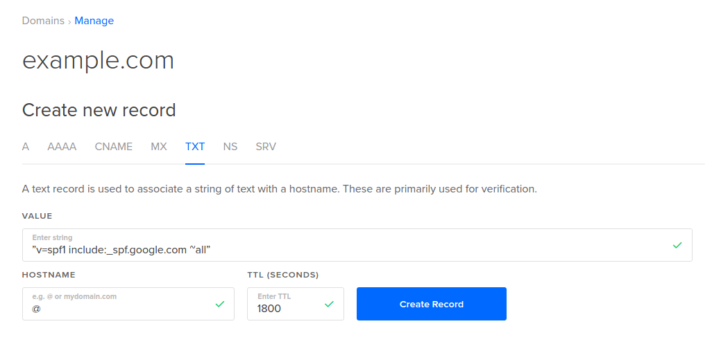 DigitalOcean TXT Record