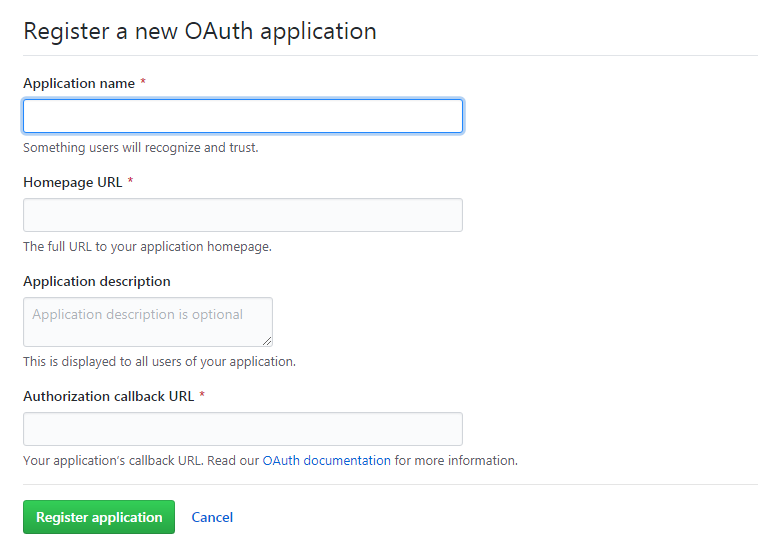 Creating a new OAuth App on GitHub