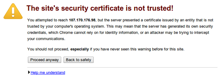 Syncthing SSL warning