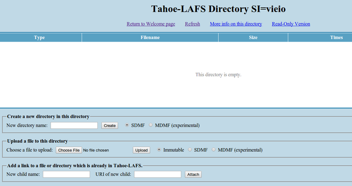 Tahoe-LAFS directory page