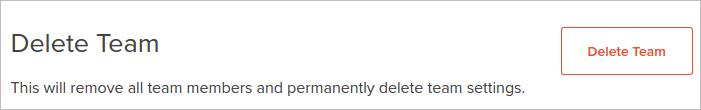 delete team button