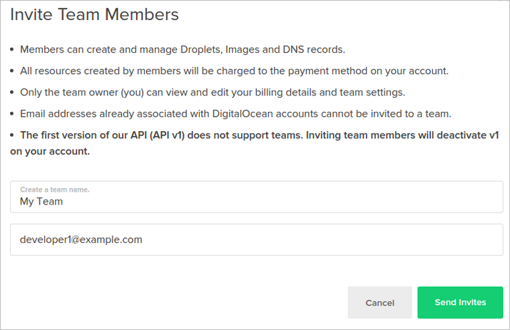 DigitalOcean set initial team
