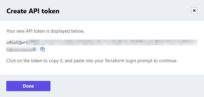 Terraform Cloud - Created API token