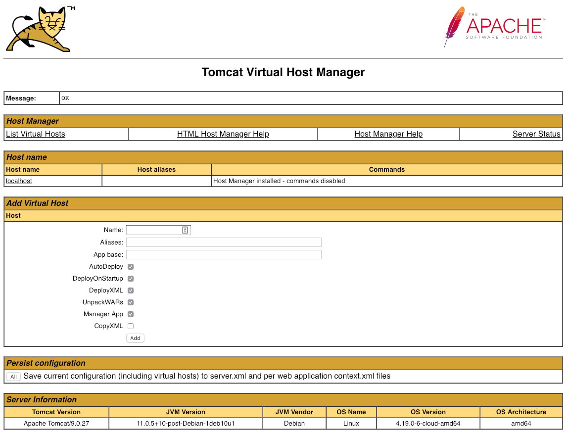 Tomcat Virtual Host Manager