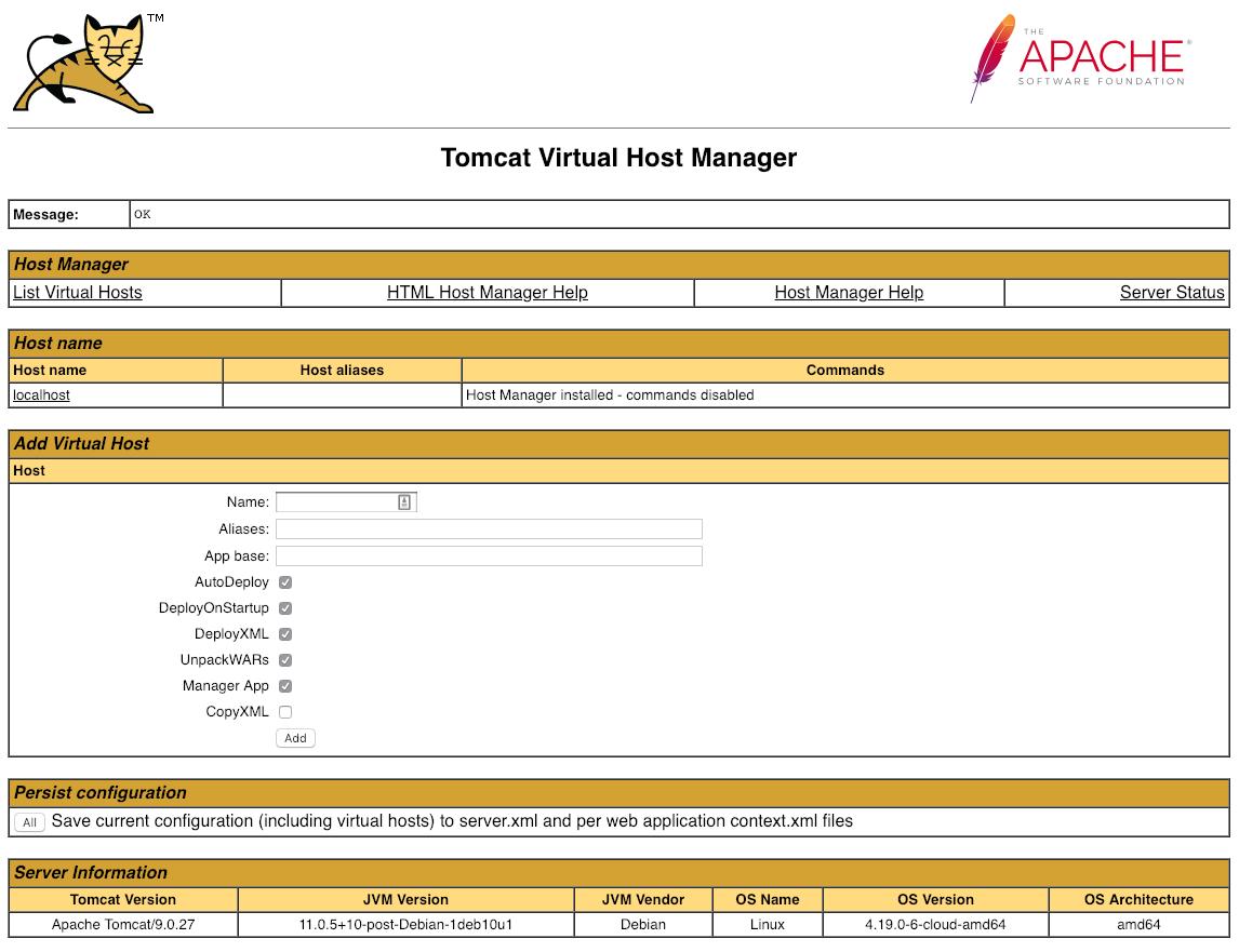 Tomcat Virtual Host Manager